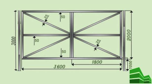 чертежи распашных ворот из профильной трубы