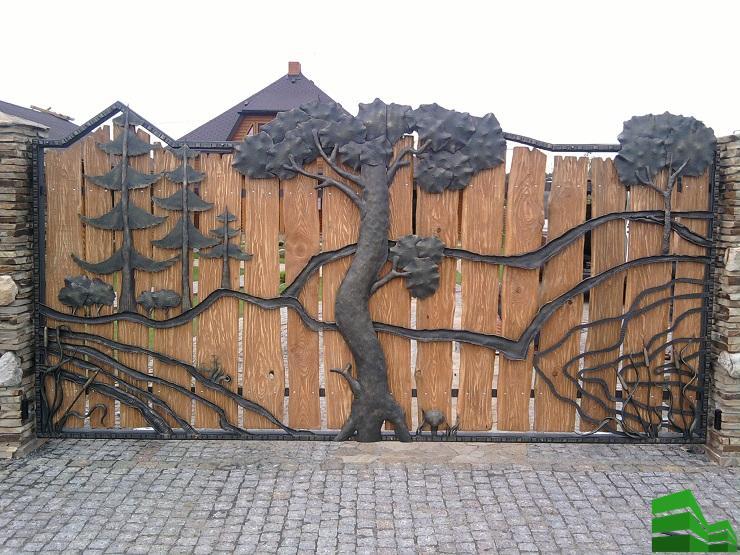 закрытые кованные ворота