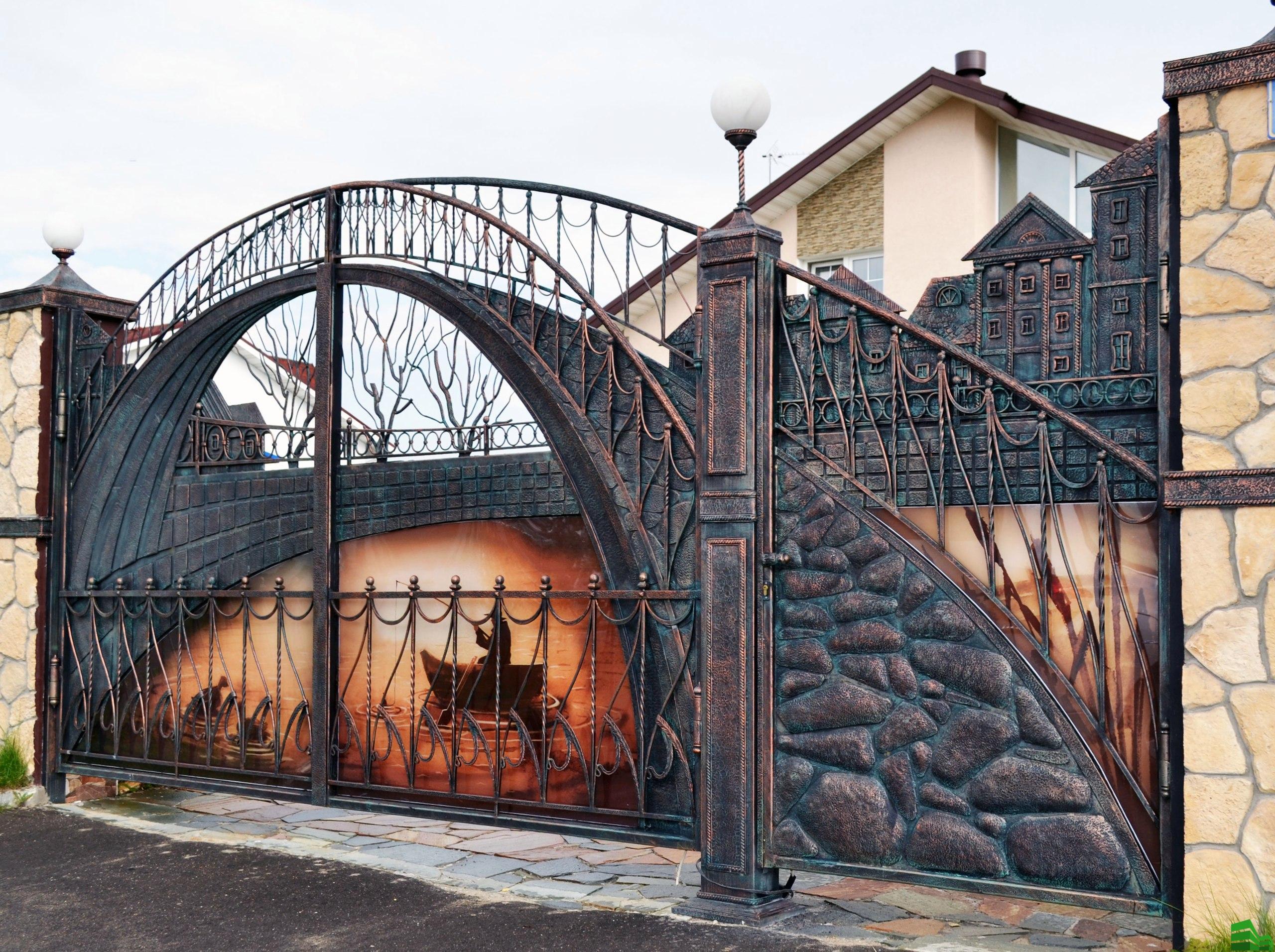 раздвижные кованные ворота