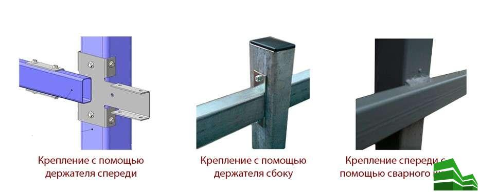 Три способа крепления лаг к опорным стойкам